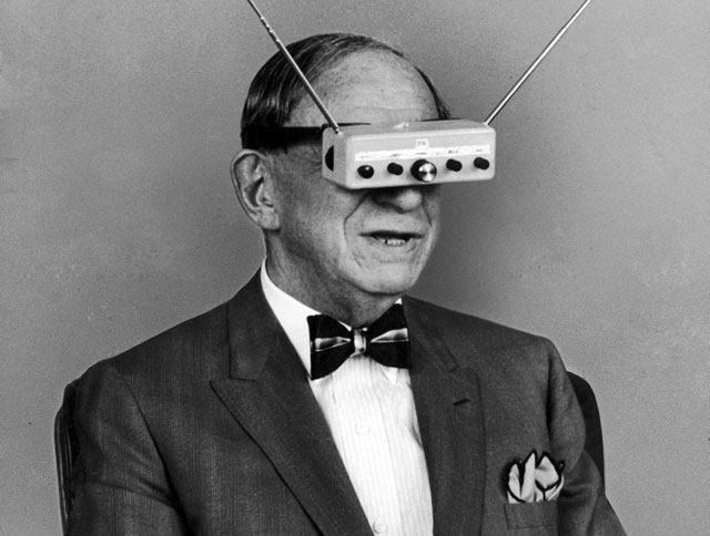 Inventor Hugo Gernsback is Demonstrating His Television Goggles in 196