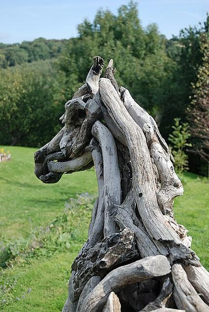 horse sculptures made out of driftwood...