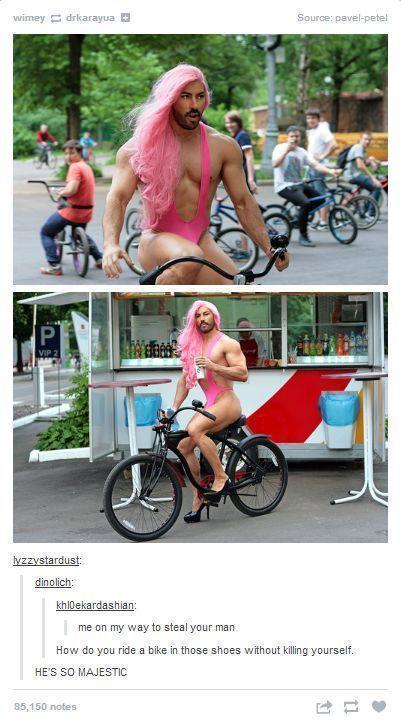 Man Runny Arroung in Female Dress on Bike... LOL