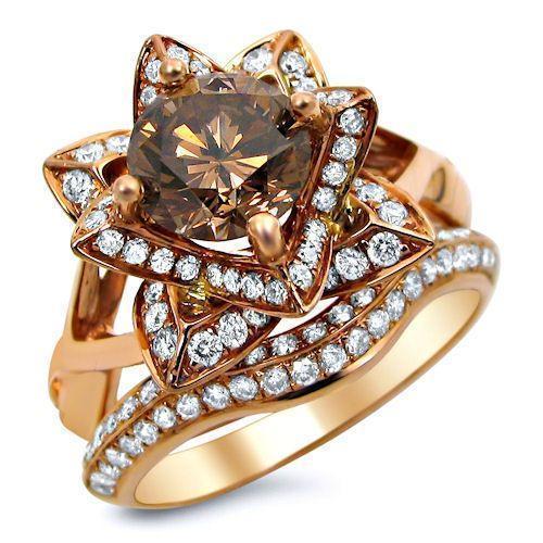 2.0ct Brown Round Diamond Lotus Flower Engagement Ring Set 14k Rose Go