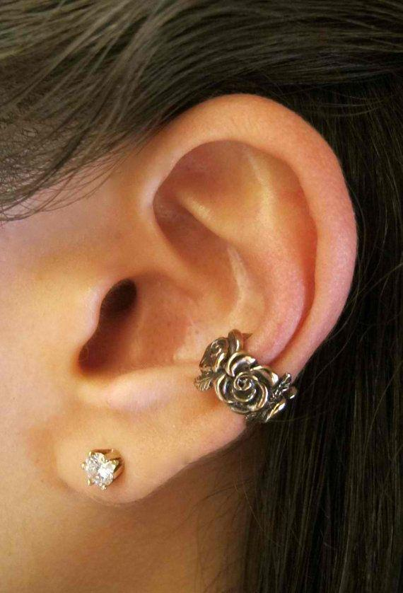 Bronze Rose Ear Cuff