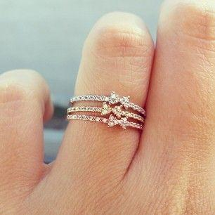 Stacked mini bow rings