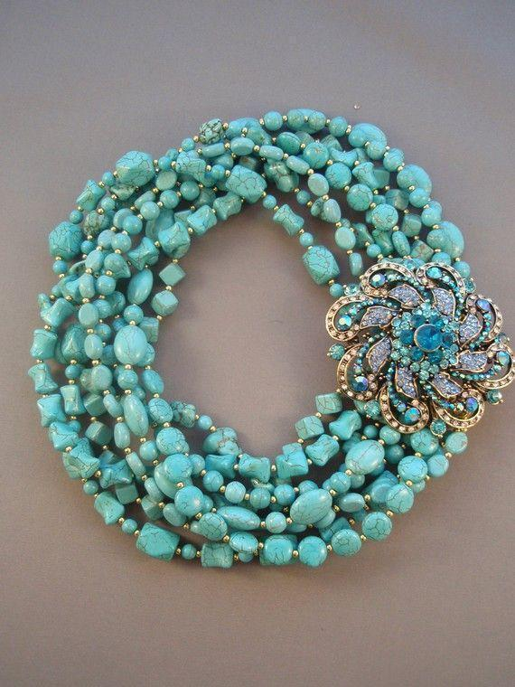 CHANTAL - Layered Turquoise with Blue Rhinestone Brooch Necklace