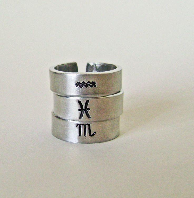Thin hand stamped zodiac ring, Aquarius, Pisces, Aries, Taurus, Gemini