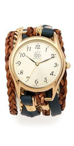 Leather & Chain Wrap Watch