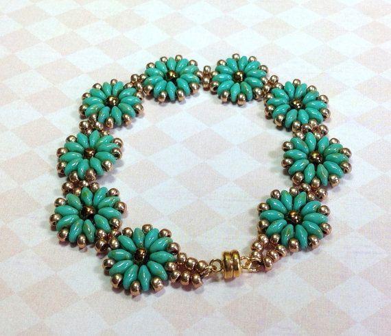 Super Duo Medallion Bracelet, Turquoise Beaded Bracelet, Turquoise Flo
