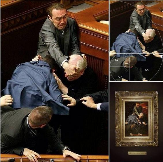 Someone took a candid photo of a fight in Ukranian Parliament that is