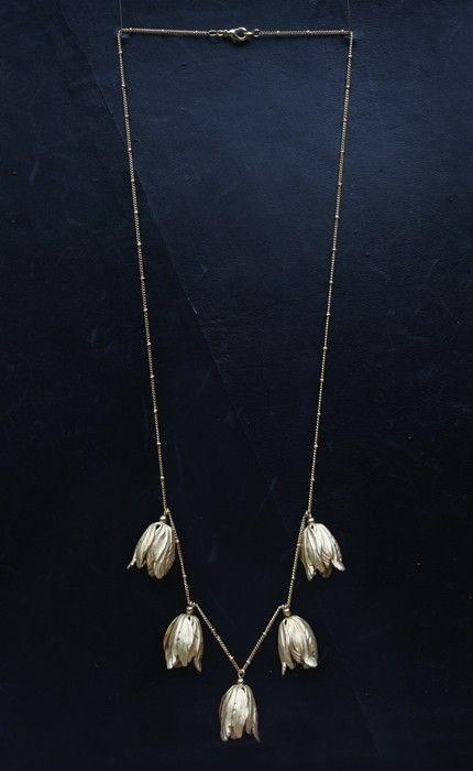 Russian gold tulip necklace