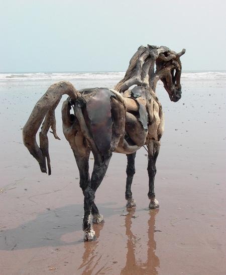 Driftwood Horse Sculpture