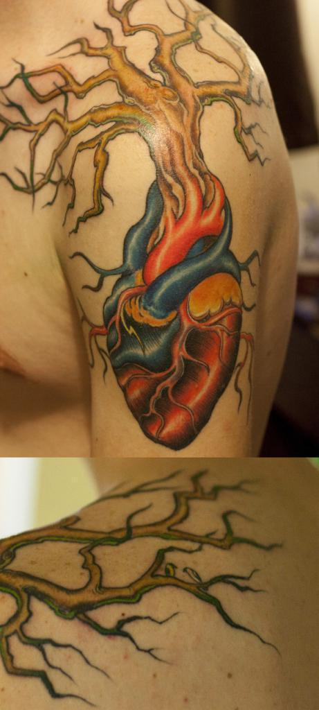 heart in arm tattoos