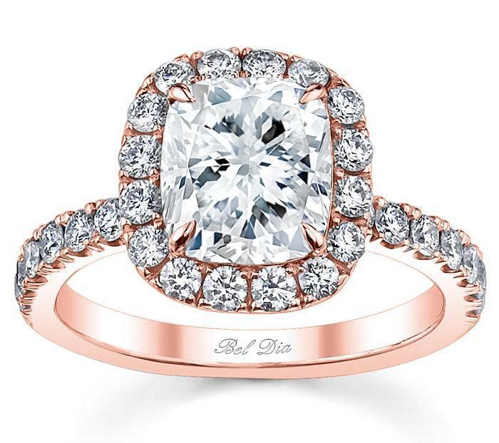 diamond halo-rose gol engagement ring