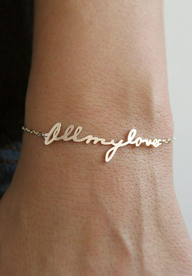14k gold Signature Bracelet, Love Bracelet, Sister Bracelet, Mother Br