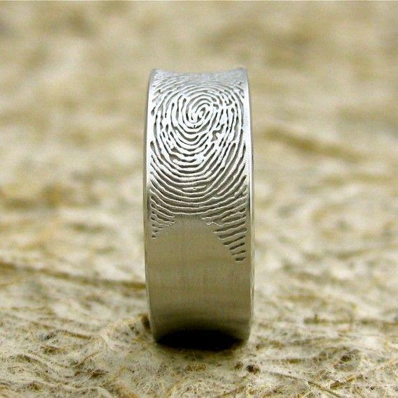 Made to Order Concave Finger Print Wedding Ring in 14K White Gold with