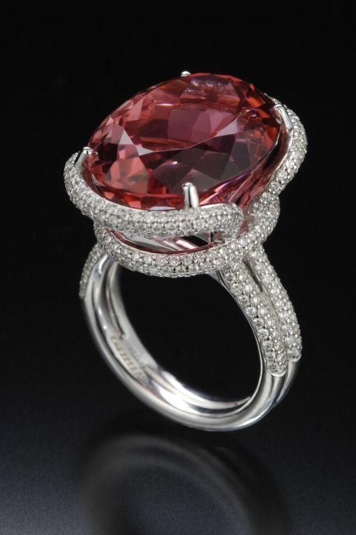 TAMIR 'Sweet' pinkish Orange Tourmaline and Diamond Ring