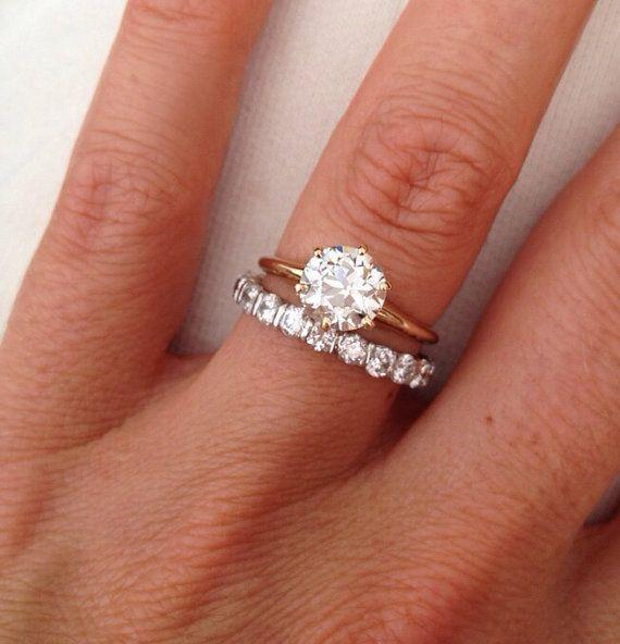 Vintage Old Mine Cut 1.38 carat Solitaire Diamond 14k Engagement Ring