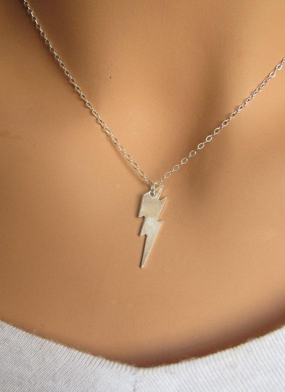 Lightning Bolt Tiny Sterling Silver Necklace