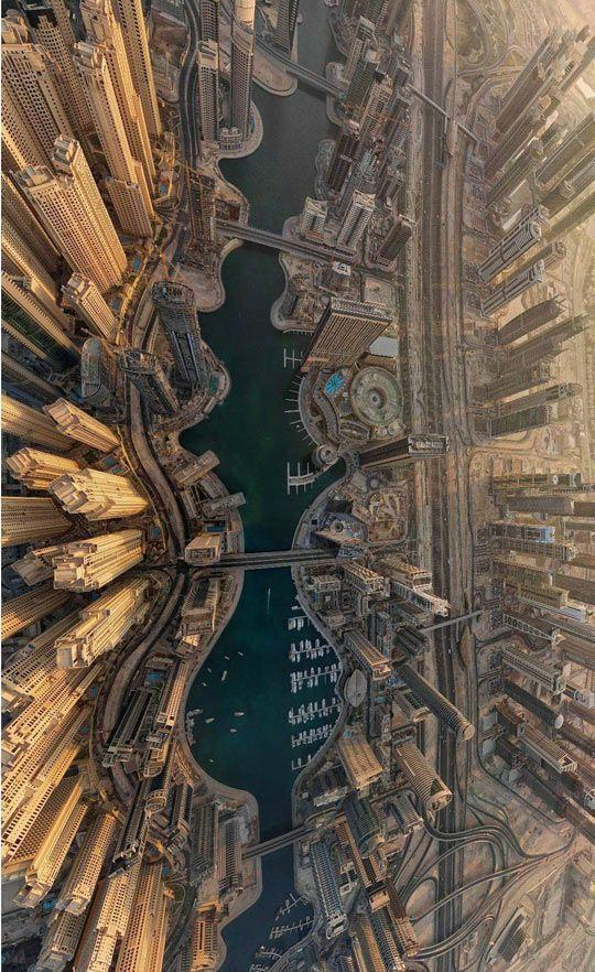An amazing aerial view of Dubai..