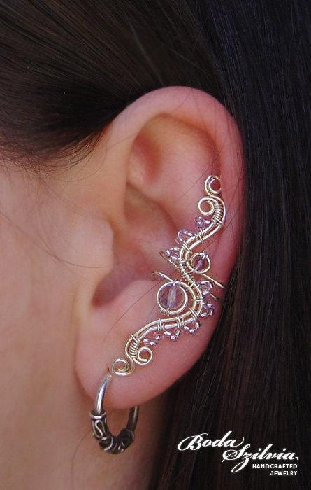 SNOW WHITE wire wrapped ear cuff