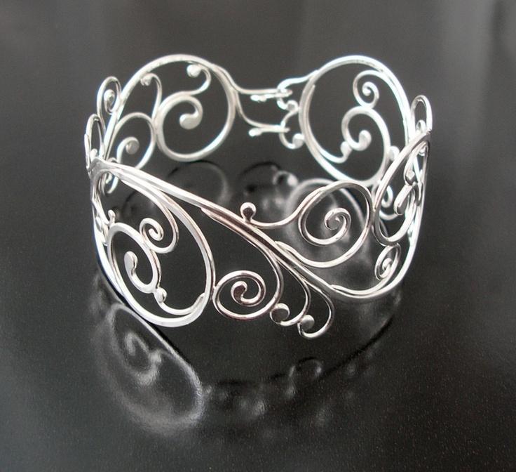 Sterling silver swirling vine cuff bracelet, Rachel Wilder handmade je