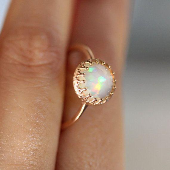 Rose Cut Opal In 14K Rose Gold Ring