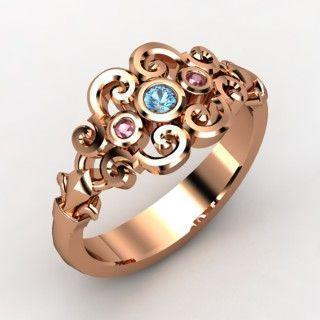 14K Rose Gold Ring with Blue Topaz & Rhodolite Garnet ♥