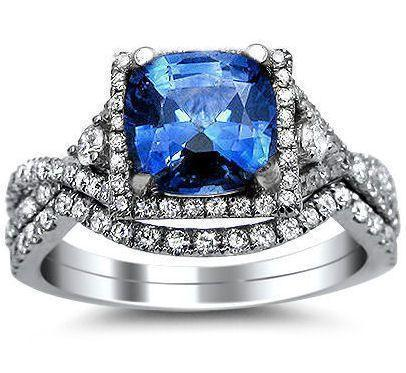 2.15ct Blue Cushion Cut Sapphire Diamond Ring Bridal Set 18k White Gol